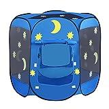 INTEY Spielzelt 6-eck Bällebad Kinderzelt Spielhaus Zelt Sternenzelt mit 2 Türen, inkl. Tragetasche, Blau