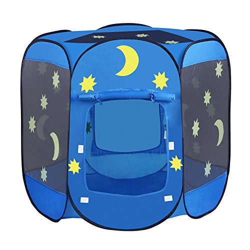 INTEY Spielzelt 6-eck Bällebad Kinderzelt Spielhaus Zelt Sternenzelt mit 2 Türen, inkl. Tragetasche, Blau - Großes Gopro Tragetasche