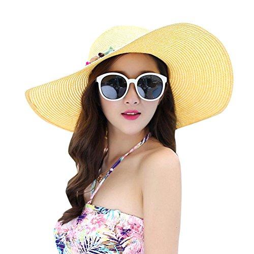 iShine Women Beach Sun Hat UPF 50+ Foldable Wide Brim Solid Color Beach Sun Hat