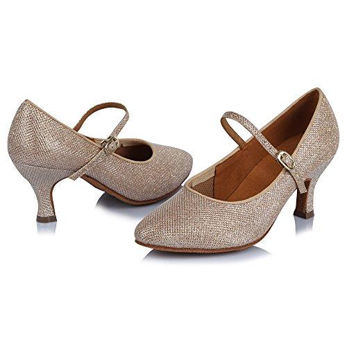 Hipposeus Femme Ballroom Chaussures De Danse / Ballroom Shoes / Chaussures De Danse Latine Standard Satin, Modèle-itaf306 Or