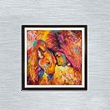 Leezeshaw 5D DIY Diamant Malen nach Zahlen Kits Fameless Strass Stickerei Gemälde Bilder für Home Decor–Bunten Löwen (30x 30cm/30x 30cm) Frameless Colorful Lion-2