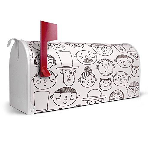 banjado-weier-Amerikanischer-Briefkasten-USA-Mailbox-17cm-x-22cm-x-51cm-mit-Motiv-Faces