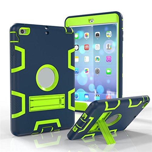 Outdoor Robuste Stoßfest Hülle mit Ständer für Apple iPad Mini 1/2/3 - Aohro 3in1 PC Plastik + Silikon Shockproof Schutzhülle Case Cover Bumper Etui,Navy Blau + Grün (Klapp-wagen Original)