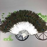 Faltbar Handfächer ,Colorful (TM) Eleganter großer Feder-faltender Handventilator Federfächer Federn Fächer Tanzfächer Handfächer für den Sommer Anlässen, Gartenfeste, Hochzeiten im Freien, 11 optionale Farben (Weiß)