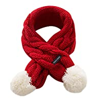 Kids Toddlers Teens Soft Winter Warm Scarf, Boys Girls Adorable Thick Thermal Cozy Plush Neck Warmer Scarf Wraps with Pom Pom Children Xmas Gift