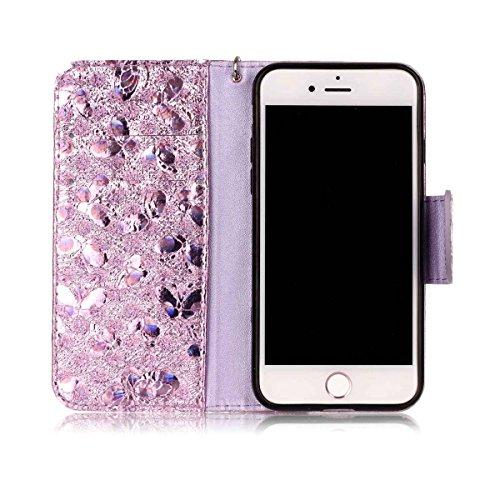 iPhone 7 Hülle, SHUNDA Brieftasche Schutzhülle Flip Leder Handyhülle mit Kippständer Bling Schmetterling Bookstyle Handycover für iPhone 7 / iPhone 8 - Golden Lavendel