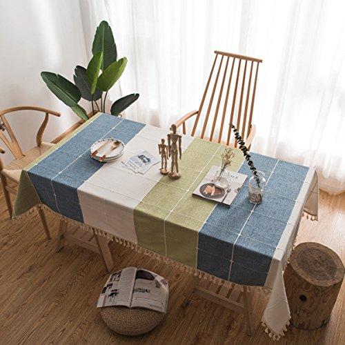 Tischtuch Tischdecke Tuch Läufer Tee Tischdecke Baumwolle Leinen Spitze Leinen TV Schrank Tuch Rechteckigen Heimgebrauch Dekoration (Farbe : Blau, größe : 100*140cm) -