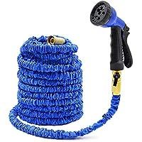 OIOLP 100FT Blu flessibile da giardino acqua Tubo con durevole lattice espandibile tubo flessibile Kink-libera e si adatta stile comune raccordi in ottone massiccio per tubi flessibili e spray professionale Pistola Toccare per IDROPULITRICE Adatto