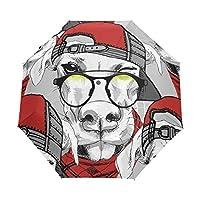 Jeansame Cute Dog Puppy Emoji Folding Compact Umbrella Automatic Sun Rain Umbrellas for Women Men Kid Boy Girl