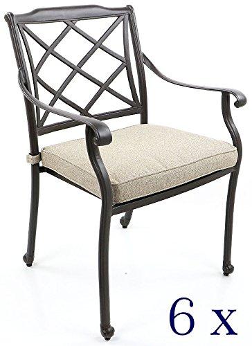 Chaises de jardin en fonte d'aluminium - Dossier tressé de design 6er-Set Antik-Bronze