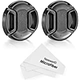 Neewer Lens Cap Kit for Nikon D3200 D3100 D3000 D5200 D5100 D5000 D90 D80 D60 D40 DSLR Cameras, Kit Includes: (2)52mm Center Pinch Lens Caps, (2)Lens Cap Leashes and (1)Microfiber Cleaning Cloth