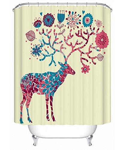 Duschvorhang 3D-kreative Ölmalerei Polyester Bad Duschvorhang Wasserdicht und Mildewproof Dressing Vorhang mit Haken (Farbe: C, Größe: 180*200 CM)