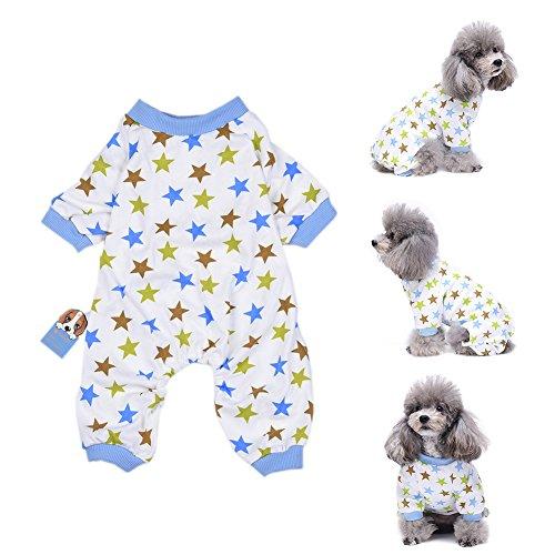 good01Puppy Star Muster Jumpsuit Shirt Weiche Baumwolle Hund Bekleidung Haustier Nachtwäsche