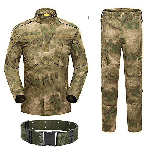 H World Shopping H Mundo Compra Hombres táctico BDU Chaqueta de Uniforme de Combate Camisa y Pantalones Traje para ejército Militar Airsoft Paintball Caza Juego de Guerra AT-FG