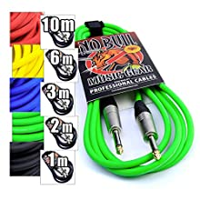 "Premium Guitar/Instrument Cable (Green, 10ft / 3m, Straight Plugs) - Heavy Duty Pro 1/4"" Jack to Jack Noiseless Mono Lead - Coloured Link Lead to Amplifier/Amp + Cable Tie"