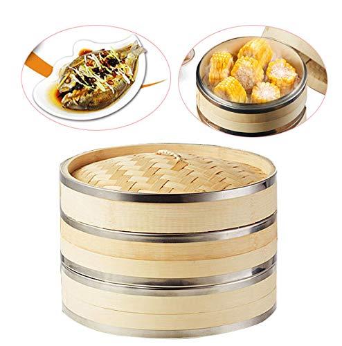 JHKJ Premium Organic Bamboo Steamer Basket Von. 2+1. Stark Und Langlebig Mit Verstärkten Edelstahlbändern,15cm/5.9inch - Reis Topf Maker