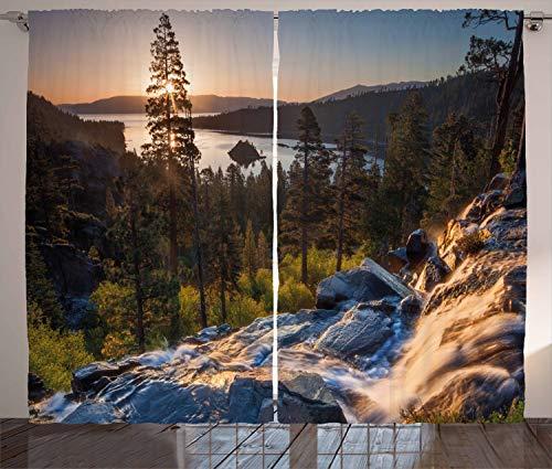 ABAKUHAUS Lake Tahoe Rustikaler Gardine, Romantische USA Orte, Schlafzimmer Kräuselband Vorhang mit Schlaufen und Haken, 280 x 225 cm, Mehrfarbig - Tahoe Schlafzimmer