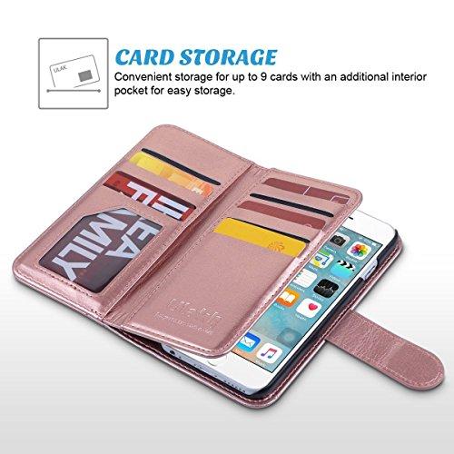 iPhone 6s Hülle, ULAK iPhone 6 hülle Brieftasche Case Luxus Premium Synthetik Leder Ständer Brieftasche Case 9 Card Slots mit Handschlaufe für iPhone 6 6s (4,7 Zoll) (Rosé Gold) Rosé Gold