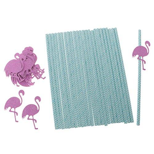 n Papier Strohhalme Geburtstag Strand Party Dekor - Flamingo, 19,6 x 0,6 cm (Strand-hochzeits-dekor)