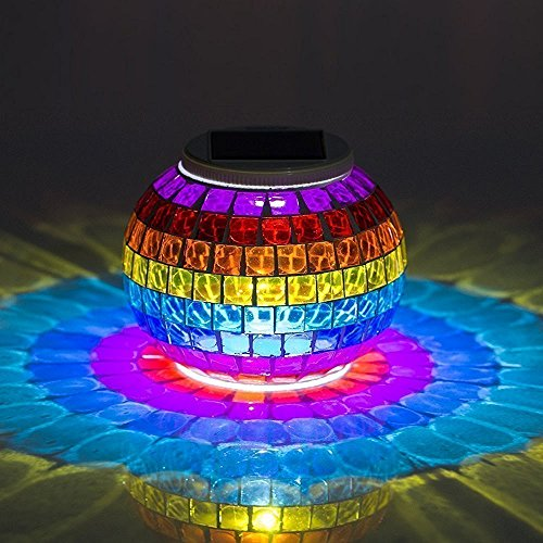Solar Mosaic Glass Ball Lights, EONSMN Color Changing LED Garden Night Lamp for Indoor Outdoor Bedroom Party Decorations (Rainbow)
