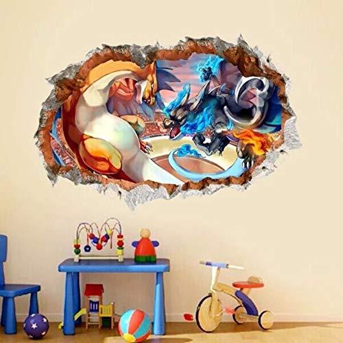 emon Charizard Wandaufkleber Kinder Wandbild Vinyl Spiel Aufkleber Kinderzimmer Dekor Wandaufkleber 60X90 Cm ()