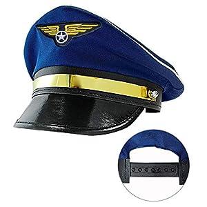 WIDMANN 03329 - Gorro de piloto para adultos, talla ajustable, unisex, color azul, talla única