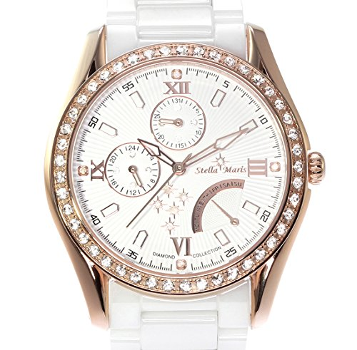 Image of Stella Maris STM15M5 -Women's Watch - White Watch Dial - Analog Quartz - White Ceramic Bracelet - Diamonds - Swarovski Elements - Stylish - Classy