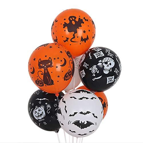 SMILINGGIRL 100 12-Zoll-Halloween-Ballons Ghost Festival Dekorative Kürbis Dicken Latex Ballon, Helium Oder Luft,Multicolored