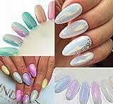ILOVEDIY 10g/Sac Poudres des Ongles de la Sirène pour Manucure Miroir Nail Art Pigment Chromé Magnifique Brillant Blanc