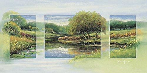 Artland Qualitätsbilder I Bild auf Leinwand Leinwandbilder Wandbilder 150 x 75 cm Landschaften Vier Jahreszeiten Malerei Grün A9ZK Sommer Triptychon