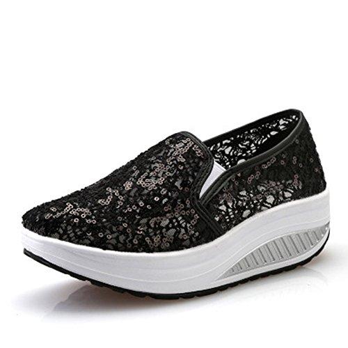 Loafers Sapatos Deslizamento Rede Cunhas De Verão Da Casuais Sapatos Cunha Malha Tênis Superfície Em Plateau Schwarz02 Respirável Calcanhar Mulheres Sapatilha Da UApqxx