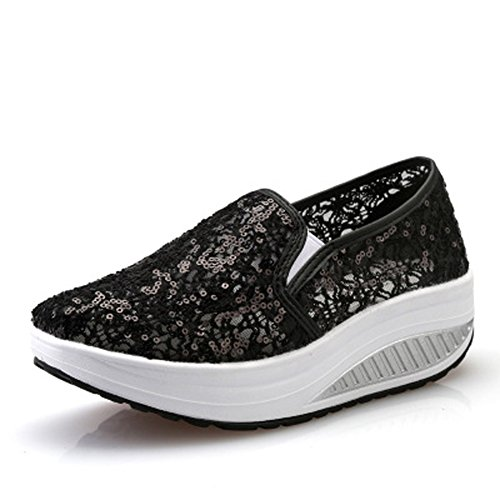 Netz Plateau wedges Freizeitschuhe Sneaker keilabsatz Atmungsaktiv Slip On Mesh-oberfläche Schuhe Laufschuhe Sommer Loafers Damen Schwarz02