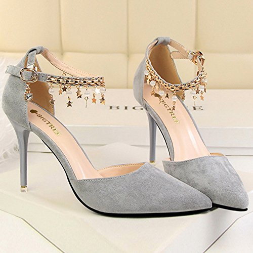 Oasap Women's Pointed Toe Ankle Strap Stiletto Heels Snadals with Metal Chain pink
