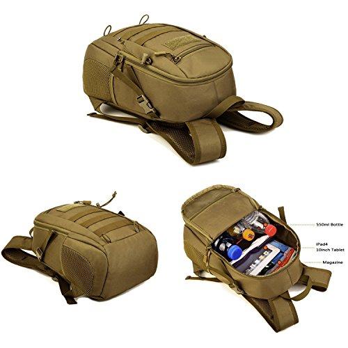 SUNVP 12L Rucksack Mini Daypack Tactical Molle Rucksack Schulbeutel für Student Mens Womens Black