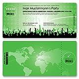 (10 x) Einladungskarten Geburtstag Eintrittskarte Party Ticket Einladungen Grün