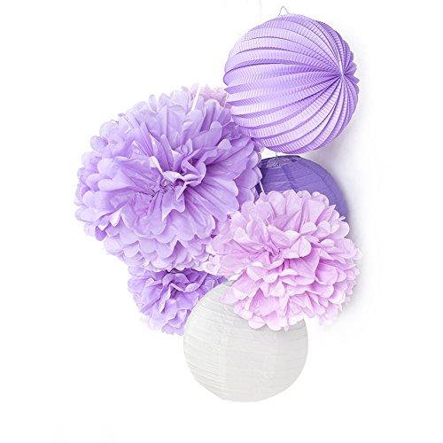 Easy Joy 7er Set Violett Papier Dekoration Kit Pompoms Lila Laterne Hochzeit Geburtstag Deko