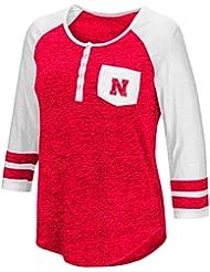 "Nebraska Cornhuskers NCAA Women's ""Inconceivable"" 3/4 Sleeve Henley Shirt Chemise"