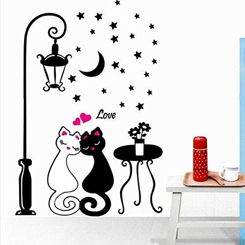 Kicode 3d fai da te smontabile lampada da parete dei gatti delle coppie decalcomanie a muro di adesivi murali soggiorno camera da letto bagno accessori per la casa dell'arredamento