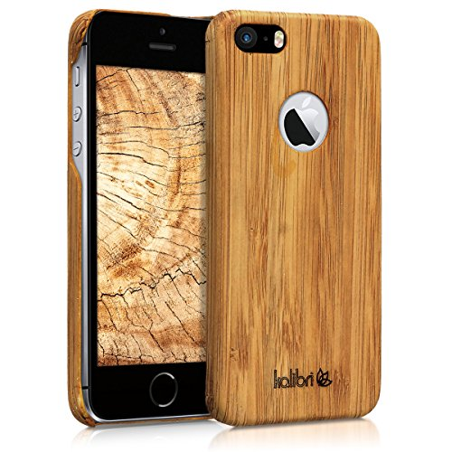 kalibri-Holz-Case-Hlle-fr-Apple-iPhone-SE2-Handy-Cover-Schutzhlle-aus-Echt-Holz-und-Kunststoff-Mix-Bambusholz-in-Hellbraun