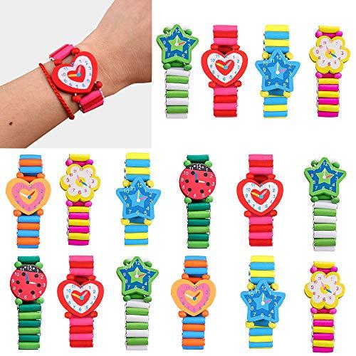 Gudotra 20pcs Reloj Decorativos Madera Relojes Coloridos
