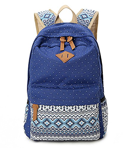 DNFC Schulrucksack Mädchen Canvas Rucksack Fashion Schulranzen Teenager Schultaschen Kinderrucksack Freizeitrucksack Damen Mode Daypack Backpack (Blau)