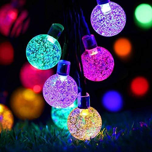 Solar Lichterkette, Nasharia 6.5M 30 LEDs 8 Modi IP65 Wasserdicht Warmweiß Lichterkette Kristall Kugeln mit Lichtsensor, lichterkette Deko für Garten, Bäume, Weihnachten, Hochzeiten, Partys(Bunt)