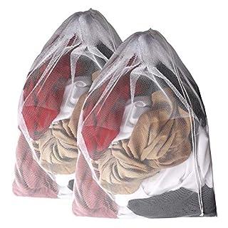 Kuou 2 Pcs Reusable Large Washing Bag, Drawstring Mesh Laundry Bag Laundry Net, 85*60cm Washing Machine Bag