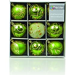 Christmas Direct - Set di 9 palline di Natale, dimensioni 6 cm, colore: Verde/Oro