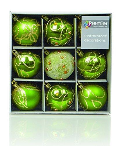 Set de 9 Boules de sapin de Noël Vert et Or (6cm)