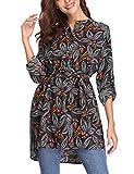 Abollria Damen Bluse Lange Blumen Print Tunika Festliche Hemdblusen mit Gürtel Verstellbar Ärmeln