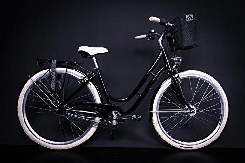 "28\"" Zoll Alu MIFA Damen Fahrrad City Bike Shimano 7 Gang Nabendynamo schwarz KORB"