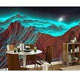 Benutzerdefinierte Tapete Wandbild 3D Berg Nacht Hellgrün Berg 3D Personalisierte Fototapete Für Wände 3D Behang (W)300x(H)210cm
