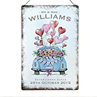Mr and Mrs Wedding Just Married Metal Sign Plaque, Personalised - Bride and Groom Gift - Him and Her Anniversary Present- 200mm x 300mm