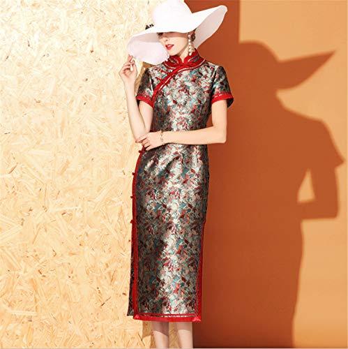 UNIQUE-F Chinesisches Cheongsam Qipao-Kleid - orientalisches traditionelles Hochzeits-Ausstattungs-Kleidungs-Kostüm für Mädchen-Frauen-Langen Abschnitt L